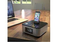 AZATOM Homehub Lightning Dock Alarm Clock Radio 30W Bluetooth for Smartphones and iPads, Black