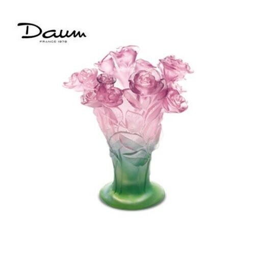 DAUM Roses Green and pink medium vase 02570 FRANCE CRYSTAL GLASS Brand New