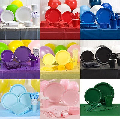 Party Balloons Paper Plates Napkins Cups Cutlery Streamers Tablecloth Utensils - Paper Party Plates