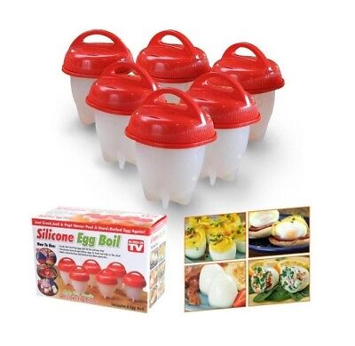 Egg Cooker Hard Boiled Eggs Without Shell 6 Pcs Eggies Silicone Cups Egglettes