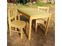 Wooden play table and chairs
