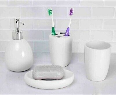 Home Basics NEW White Ceramic Soap Toothbrush Bathroom Accessory Set - BA41263 ()