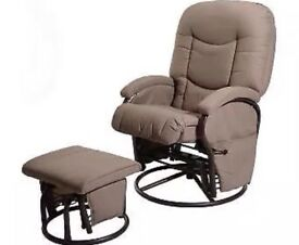 Deluxe glider swivel nursing chair and stool