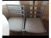 4 x Grey Blue Checked Upcycled Upholstered Dining chairs