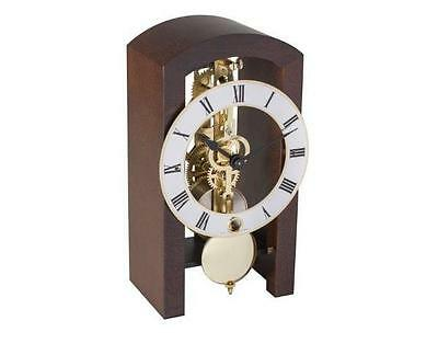 Hermle Table Clock (HERMLE Table Skeleton Mantel Clock mechanical 8-day movement walnut Made Germany )