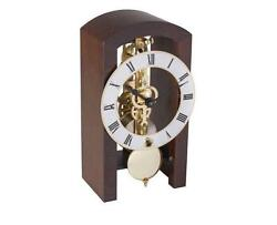 HERMLE Table Skeleton Mantel Clock mechanical 8-day movement walnut Made Germany