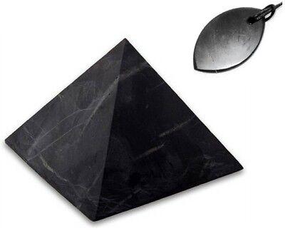GIFT SET Shungite stone Pyramid 30x30 mm UNPOLISHED + Pendant PETAL