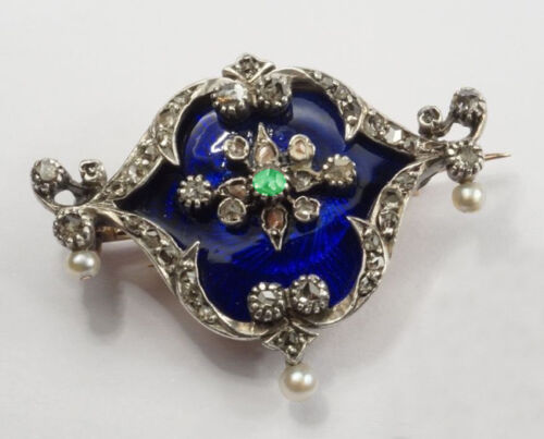 3.10ct ROSE CUT DIAMOND BLUE ENAMEL EMERALD PEARL 925 SILVER BROOCH PIN