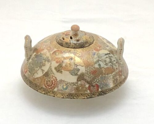 Antique Japanese Meiji Period Finely Painted Satsuma Koro #4 with Handles