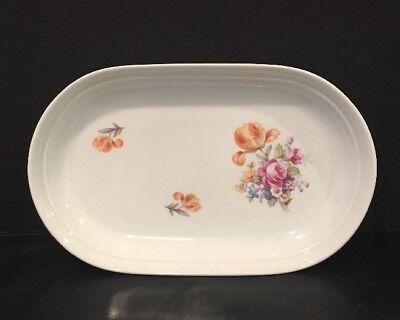 """VTG Kahla Porcelain 9-3/8"""" Oval Tray #29 Rose Floral Pattern NOS Made In GDR"""