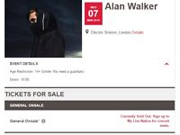 (1) Alan Walker ticket for tonight at Electric Brixton, London