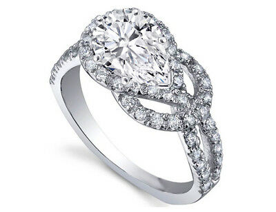 Love Knot Pear Shape Diamond Engagement Ring 14k White Gold  GIA Flawless