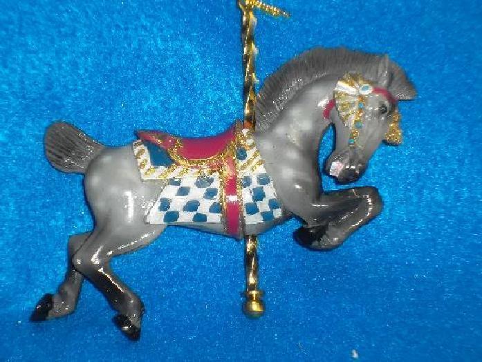 2016 Kurt Adler Allen Herschell Roached Mane Carousel Ornament