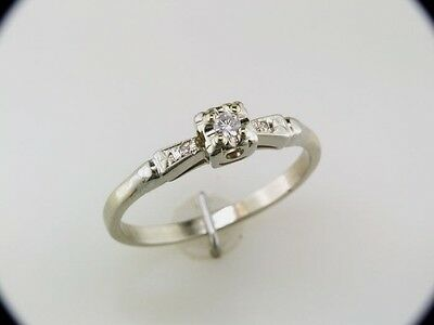 Vintage Antique Diamond 14k White Gold Art Deco Engagement Ring