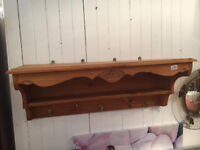 Wooden shelf and hooks , lovely pine wood feel free to view size W 36 in D 12 in H 13 in