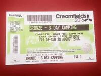 Creamfields 3 day bronze camping ticket for sale