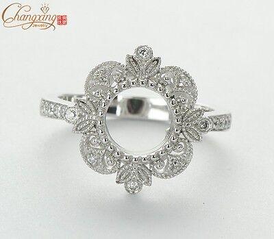 Round 6.5mm 14k white gold milgrain natural diamond retro semi mount ring