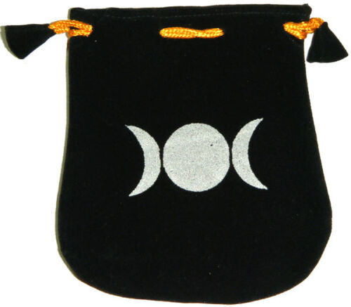 "Black Velvet Bag / Pouch 5"" x 5"": Triple Moon (Wicca Talisman Drawstring) Tarot"