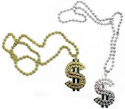 arzeichen Dollar Dollarkette Kunststoff gold silber (Dollarzeichen Halskette)