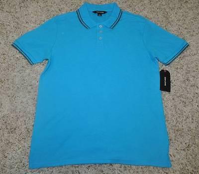 Nwt Mens Adam Levine Blue Tipped Short Sleeve Polo Shirt Size M