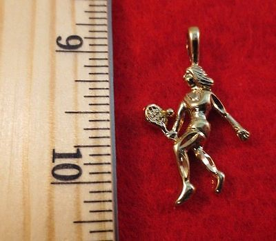 Player Charm 14kt Gold Jewelry - 14KT GOLD EP SPORTS WOMAN TENNIS  PLAYER PENDANT CHARM - 2445