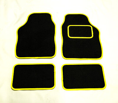 FIAT 500 ALL MODELS UNIVERSAL Car Floor Mats Black Carpet  YELLOW Trim