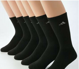 Authentic Adidas Climalite Men's Crew Socks 6 Pairs/Pk, Cushioned, Size L, Black