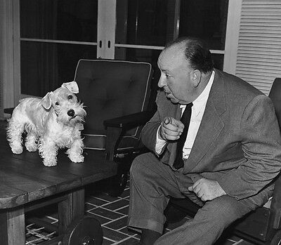 Alfred Hitchcock UNSIGNED photo - B1997 - With his dog
