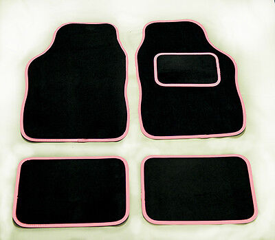 ISUZU ALL MODELS UNIVERSAL Car Floor Mats Black  PINK TRIM