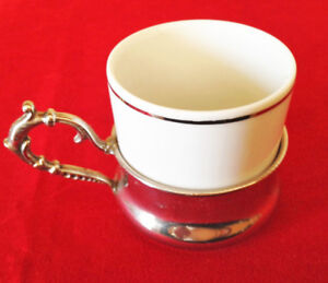 Italian Ancar Demitasse Espresso Cup in Silver plated Holder