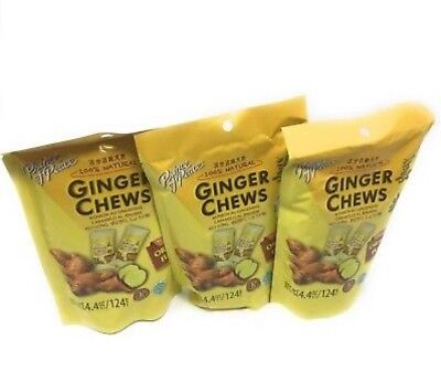 3 Bags Prince Of Peace 100% Natural Ginger Candy Chews 4.4oz to 3.3oz