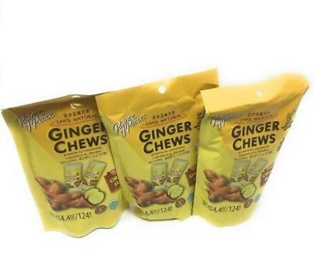 3 Bags Prince Of Peace 100% Natural Ginger Candy Chews Variety Pack - 3 Flavors