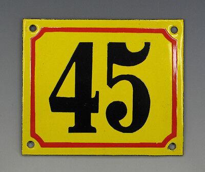 EMAILLE, EMAIL-HAUSNUMMER 45 in GELB/ROT/SCHWARZ um 1955