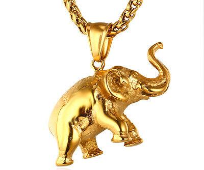 Cadena Y Elefante Acero Inoxidable Ba Ado En Oro Plata Negro Amuleto De Suerte