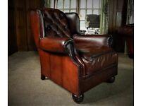 Oskar cigar dyed leather antique wingback armchair