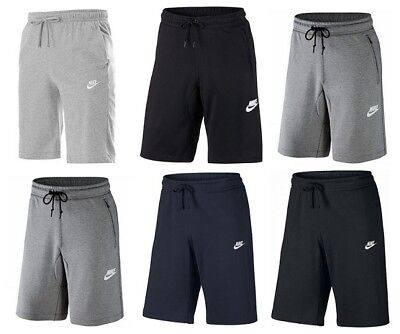 Nike Mens Jersey Fleece Shorts Cotton Club Pockets Casual Summer Black Grey