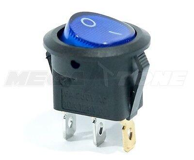 Spst 3 Pin Onoff Round Rocker Switch W Blue Neon Lamp 10a125vac Usa Seller