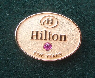 Hilton Hotel Employee Service Pin 5 Years Service Gf Gold   Syn Ruby