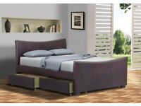 """ADDA 4 DRAWERS LEATHER STORAGE BED 4.6"""" DOUBLE & 5FT KING SIZE BEDS"""