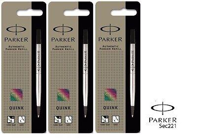 Parker Quink Refill Rollerball Medium Black x 3