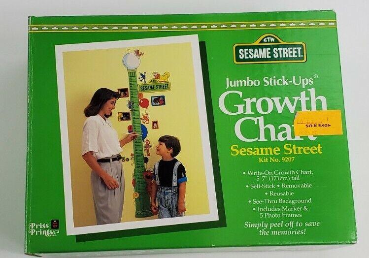 NOS Vintage Sesame Street 9207Jumbo Wall Self Stick-up Growth Chart Removable
