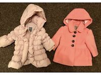 Girls pink next coat 3-6 and Gap coat 0-6 months