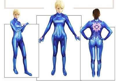 Sexy Women Samus Aran Zero Metroid Costume Lycra Bodysuit Halloween Cosplay Suit (Zero Halloween Costume)