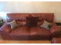 Leather 3+2 seater sofa and armchair