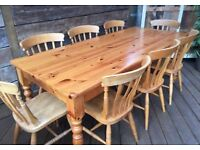 Very strong solid pine farmhouse dining table, 7ft long, great condition, chairs additional