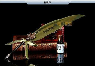 Harry Potter Hogwarts Writing Quill Feather Pen Deathly Hallows Costume green ()