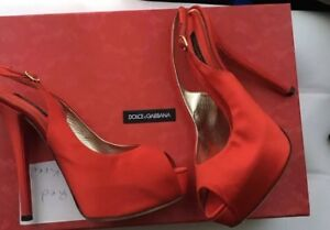 Dolce&gabbana red satin pumps 38 1/2