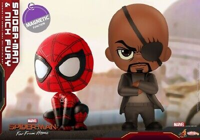 Hot Toys COSB632 Spider-Man & Nick Fury SetFar From Home COSBABY Mini PVC Figure