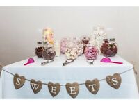 Wedding Sweet jars, sign and scoops