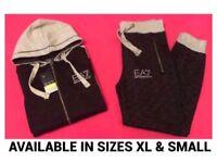 Black & LT Grey Full Hooded Jogging Tracksuit Brand New